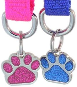 Customized Laser Etched Glitter Paw Pet ID Tags