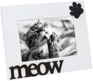 """Isaac Jacobs White Wood Sentiments Cat """"Meow"""" Picture Frame"""